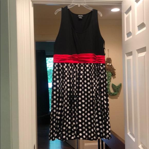 Black/white polka dot dress w/ red detail